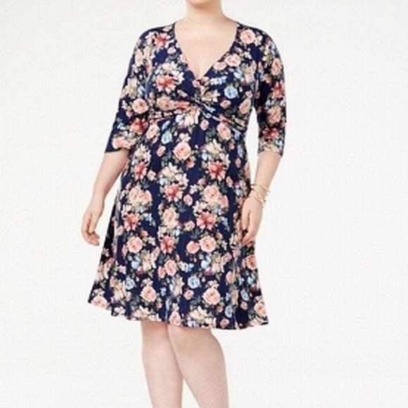 96fafd02c41 V Neck Floral Sheath Dress 3X